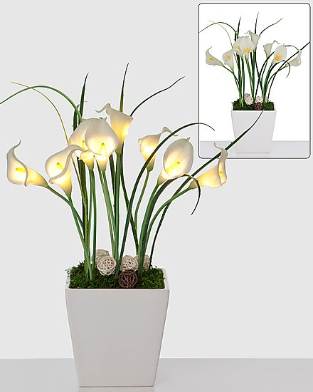 led callas bouquet keramik topf leuchtende blumen aparte dekorationen 42 cm ebay. Black Bedroom Furniture Sets. Home Design Ideas