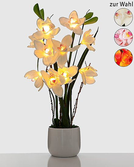 led orchidee keramik topf leuchtende blumen aparte dekorationen 70 cm hoch ebay. Black Bedroom Furniture Sets. Home Design Ideas