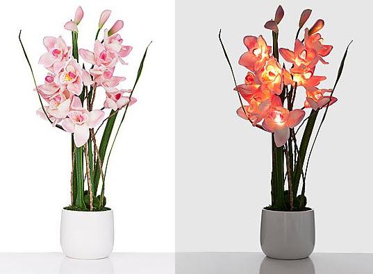 LED Orchidee Keramik Topf Leuchtende Blumen Aparte Dekorationen