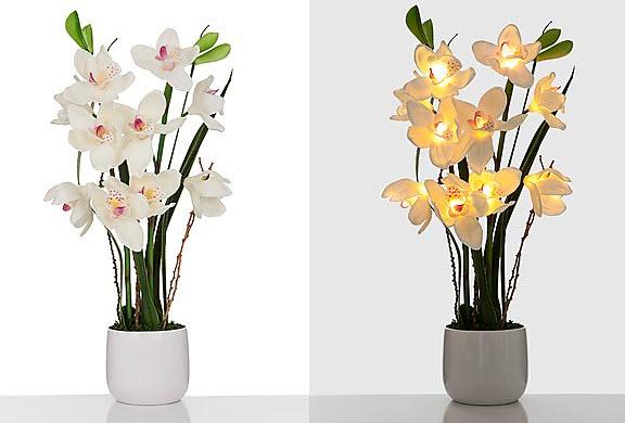 led orchidee keramik topf leuchtende blumen aparte dekorationen 70 cm hoch ebay. Black Bedroom Furniture Sets. Home Design Ideas