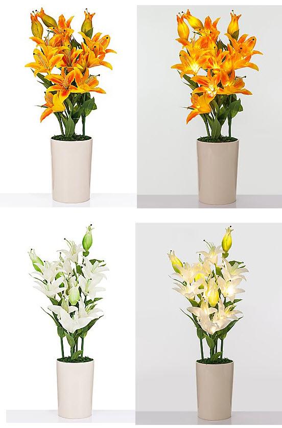 led lilien bouquet keramik topf leuchtende blumen aparte dekorationen 85 cm. Black Bedroom Furniture Sets. Home Design Ideas