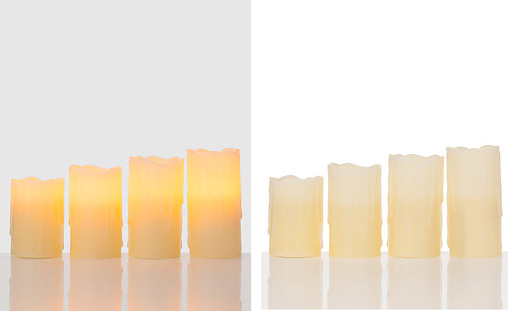 4er-Set-LED-Echtwachs-Kerzen-Fernbedienung-Timer-Stumpenkerze-4-Hoehen-10-Farben