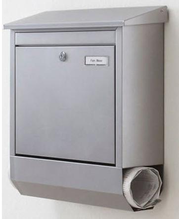 edelstahl briefkasten mit zeitungsfach matt geb rstet postkasten zeitungsrolle ebay. Black Bedroom Furniture Sets. Home Design Ideas